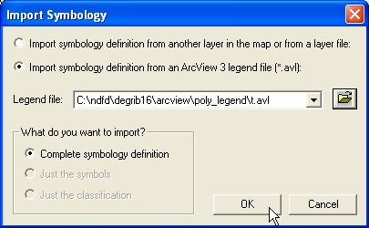 Figure 14: After selecting the legend file, select Complete symbology definition and click OK