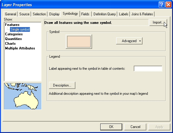 Figure 11: The Symbology tab is selected and user is going to import a legend into ArcMap
