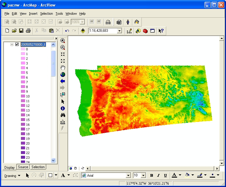 Figure 17: ArcView standard symbology has been imported into ArcMap and applied to this example