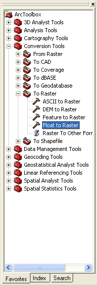 Figure 24: Expand Conversion Tools, then expand To Raster