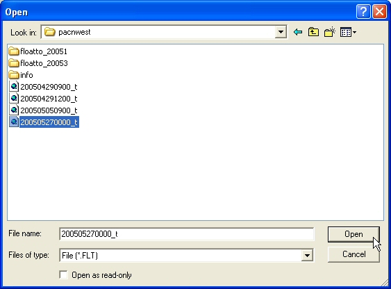 Figure 26: Locate the .flt file to be converted to raster