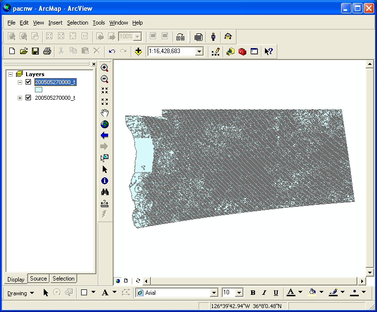 Figure 10: A large polygon shapefile was added to ArcMap and the default symbology is one symbol and one color