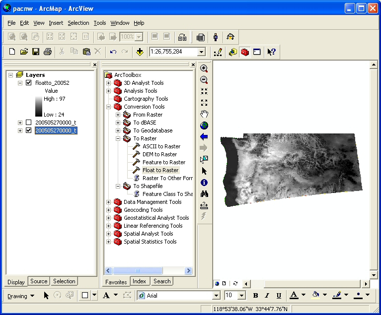 Figure 29: The .flt file was converted to a raster file so that it could be used for raster analysis in ArcGis