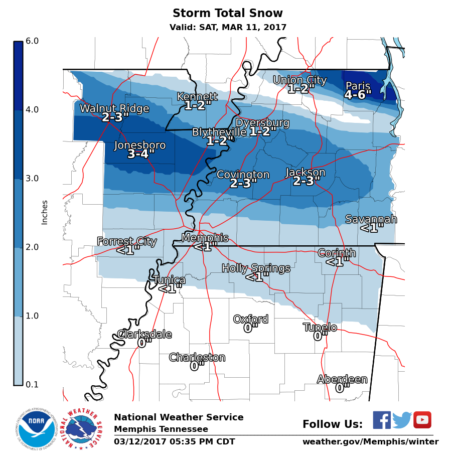 mid south snow totals for march 11 2017. Black Bedroom Furniture Sets. Home Design Ideas