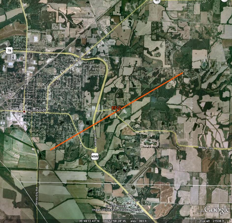 Track of Gibson Tornado