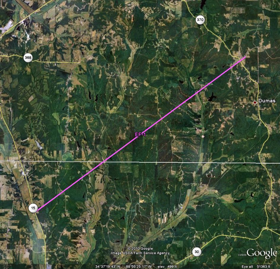 Track of Union-Tippah Tornado