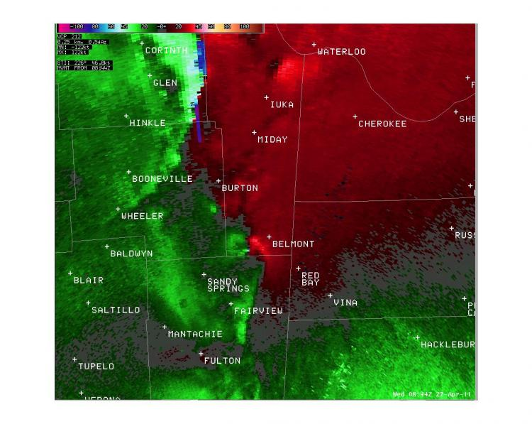 Tornado began southwest of Belmont, MS at 3:44 am