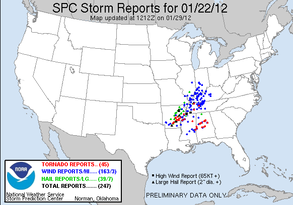 Severe Weather Reports from Jan 22-23, 2013
