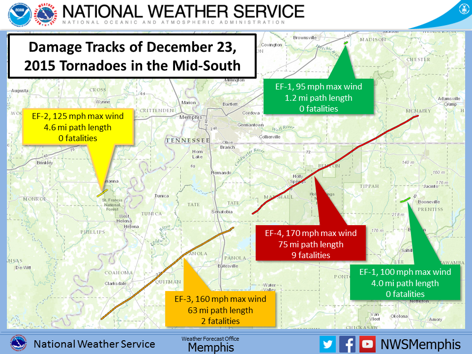 Damage paths from Tornadoes in the Mid-South from Dec 23, 2015