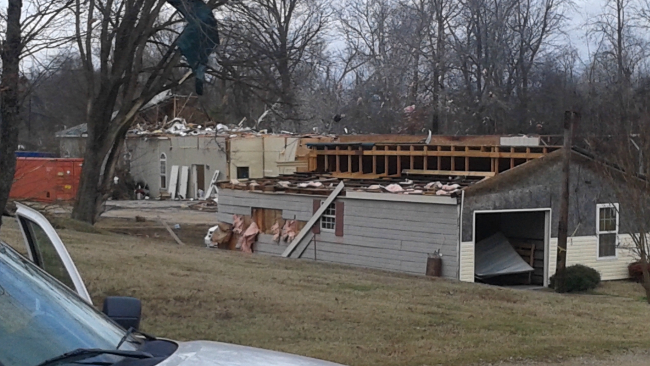 Damage to home and garage in madison county, tn