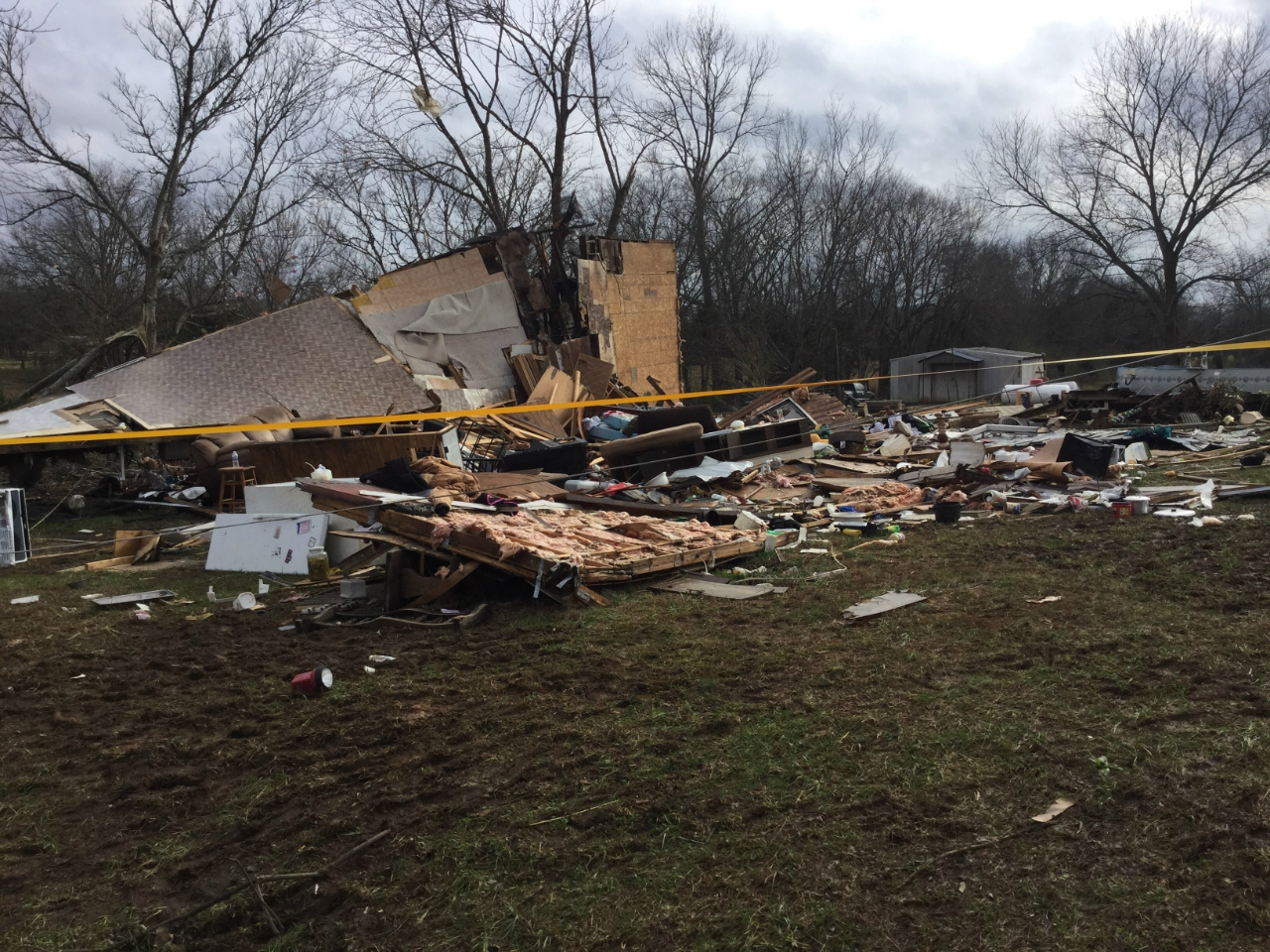 A destroyed mobile home in Prentiss County, MS