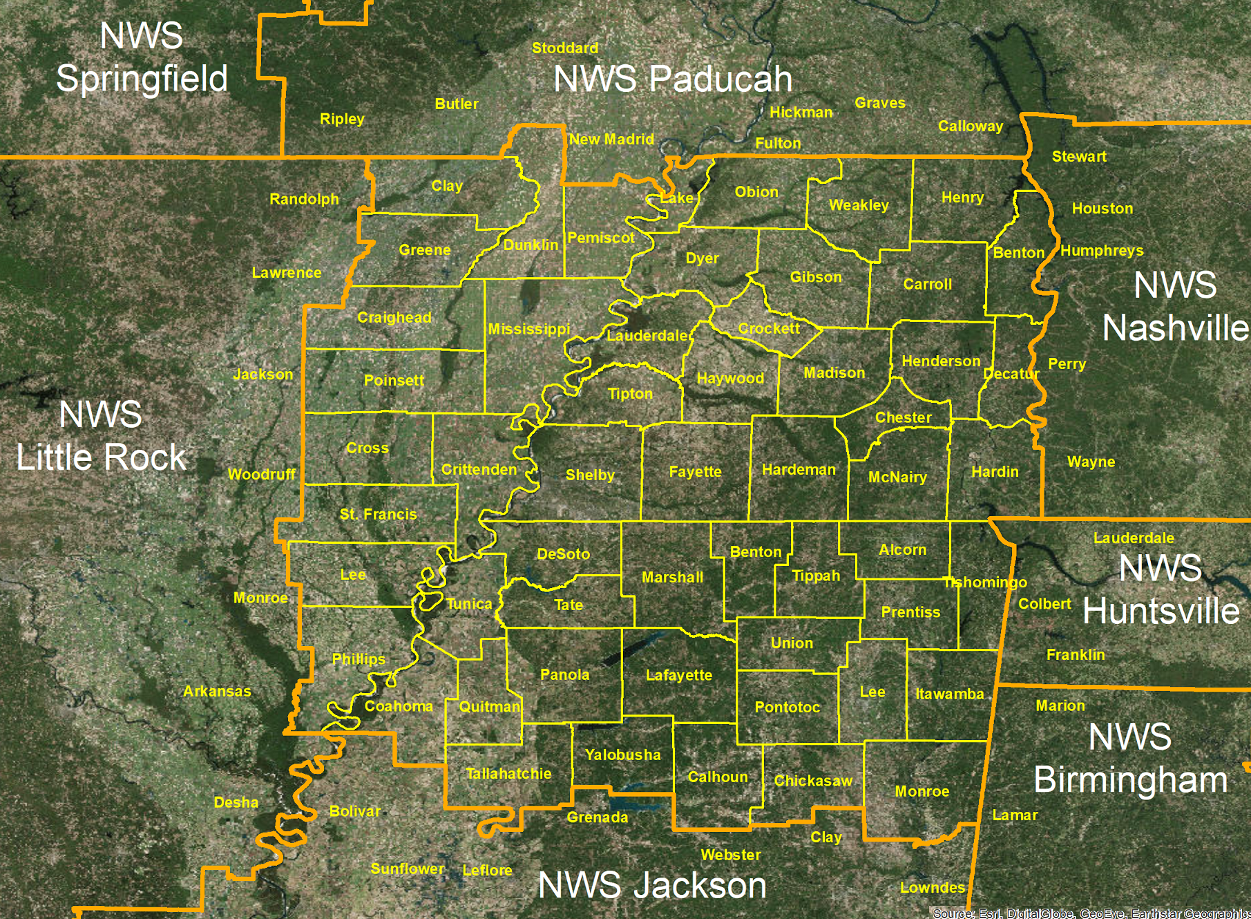 NWS Memphis County Warning and Forecast Area - Click to Enlarge