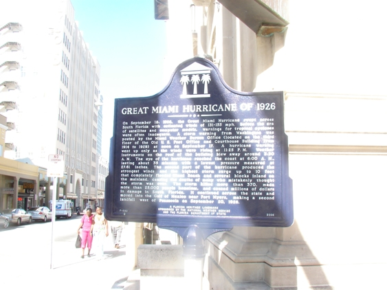 Picture of Historical Marker for 1926 Great Miami Hurricane