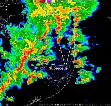 Radar Observed Mini-Supercells Around 1104 PM 12 Feb 2008 Across South Florida