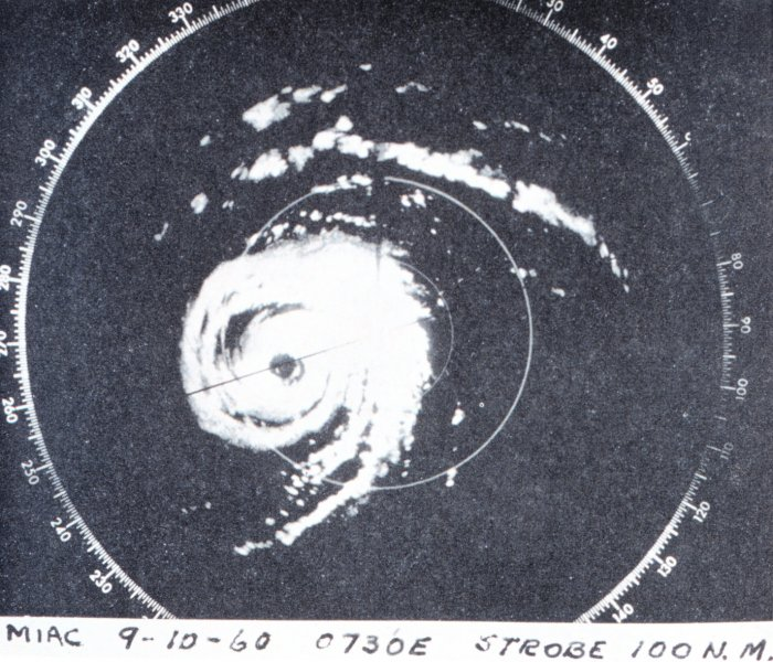 Radar image of Donna at closest point to Miami