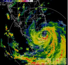 Radar image of Katrina at landfall