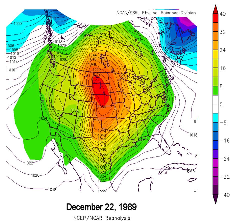 Christmas Snowstorm December - Us weather map with high and low pressure