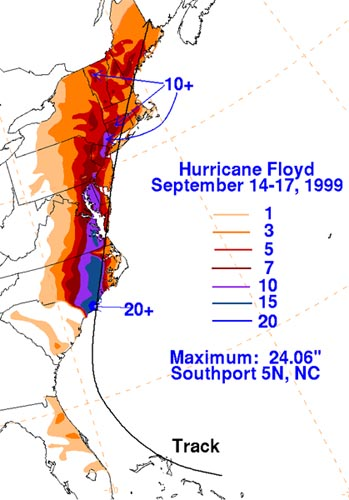 Map Showing Floyd Rainfall Amounts