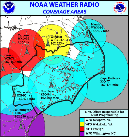 The Graphic Below Shows The Locations And Frequencies Of The Noaa Weather Radio Transmitters Which Cover The Newport Nws Wfo County Warning Area