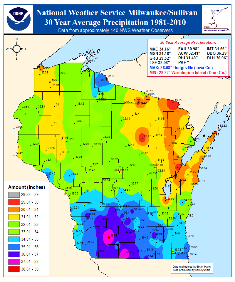 average yearly precipitation across wisconsin