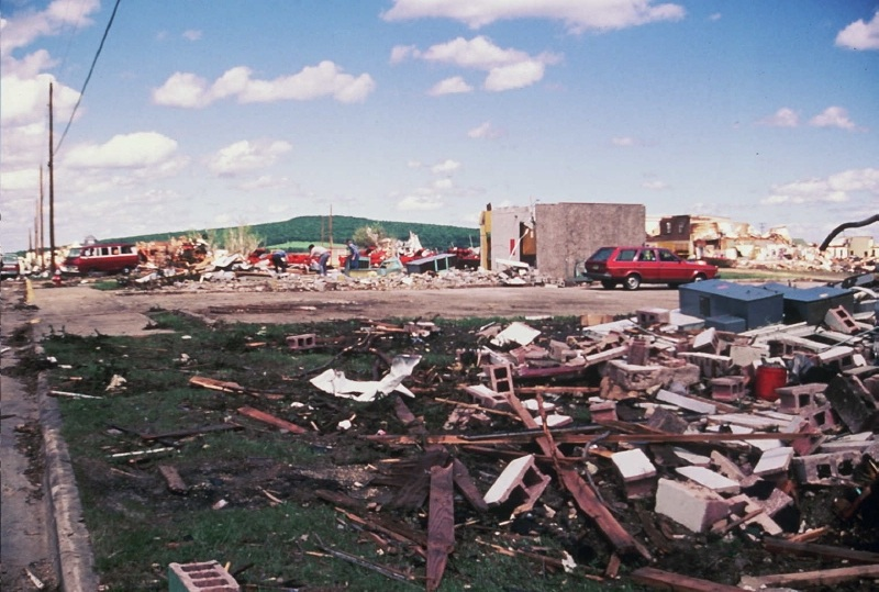 Damage in Barneveld, WI following the F5 tornado