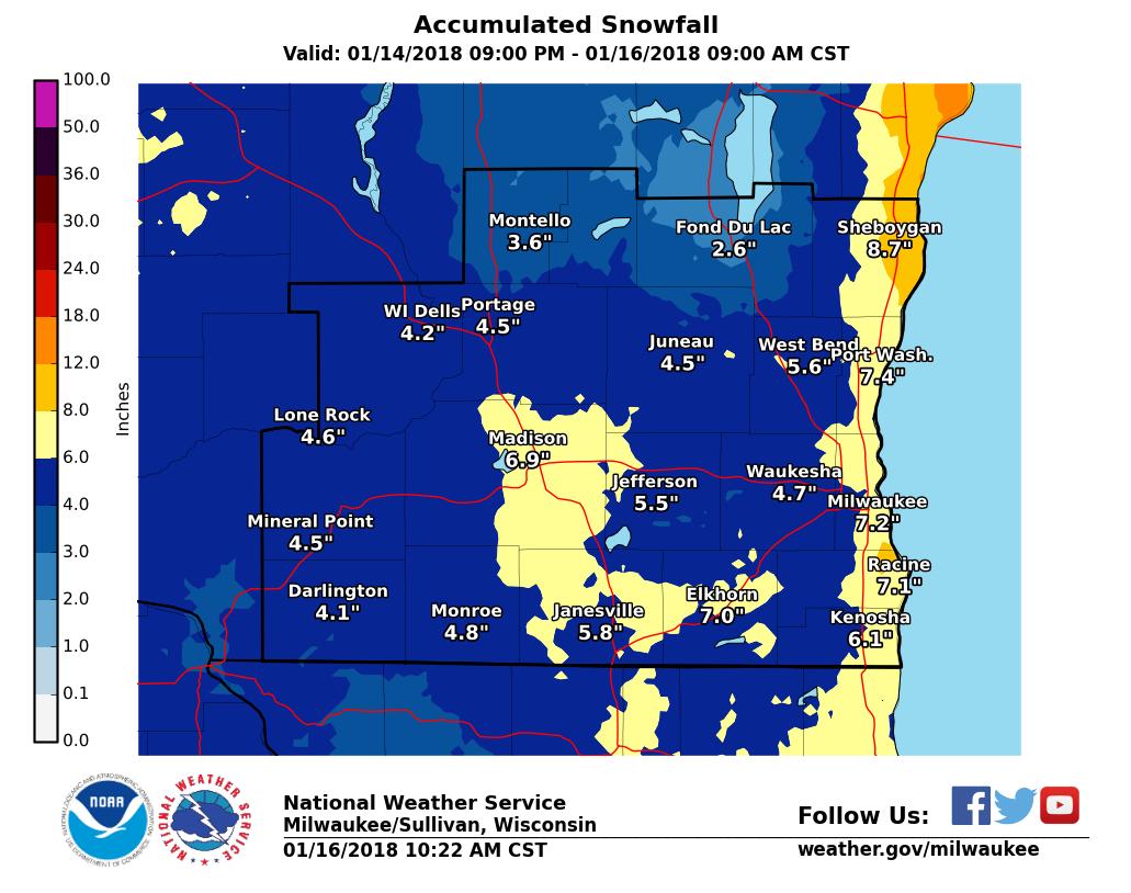 Southern Wisconsin Two Day Snowfall Totals