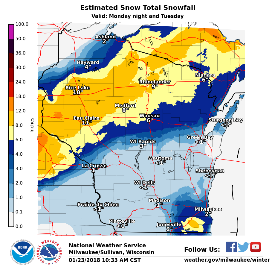Wisconsin Two Day Snow Totals