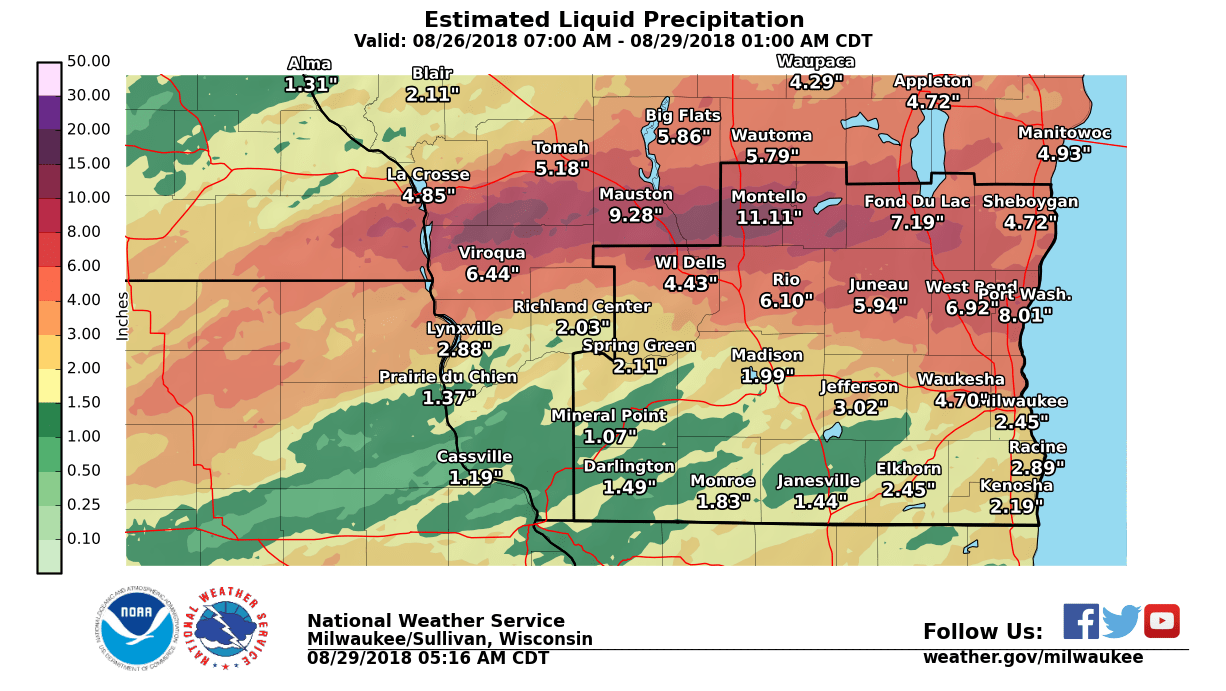 Estimated Rainfall Monday through Tuesday Night