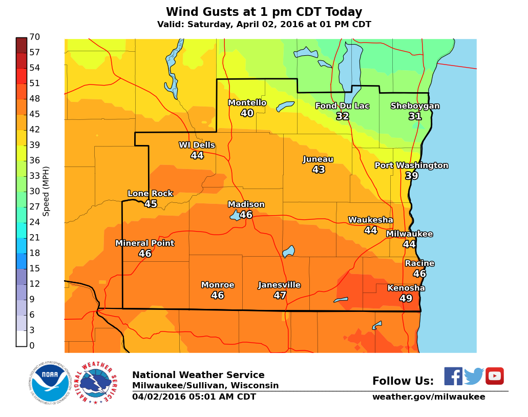 Wind Gust Map Burst Of Snow This Morning; Windy And Colder Today