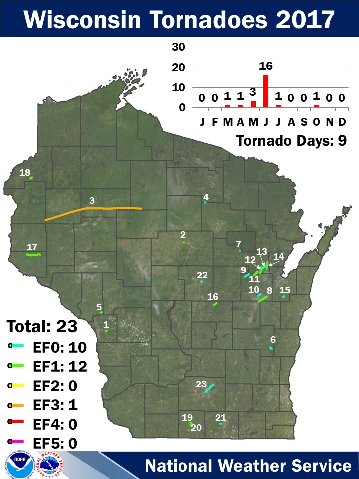 2017 Wisconsin Tornadoes Map