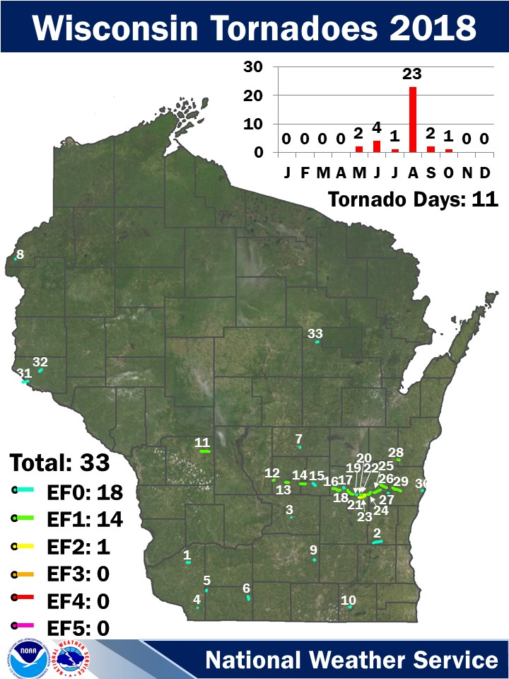 2018 Wisconsin Tornadoes Map