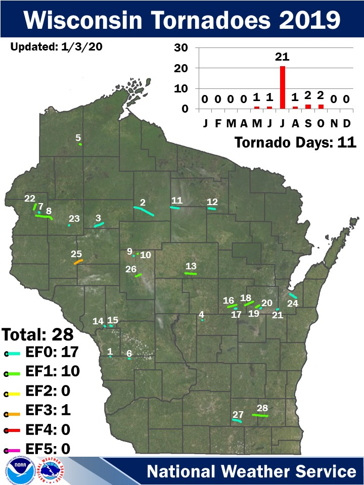 Wisconsin Tornadoes 2019:  Updated 7/29/19