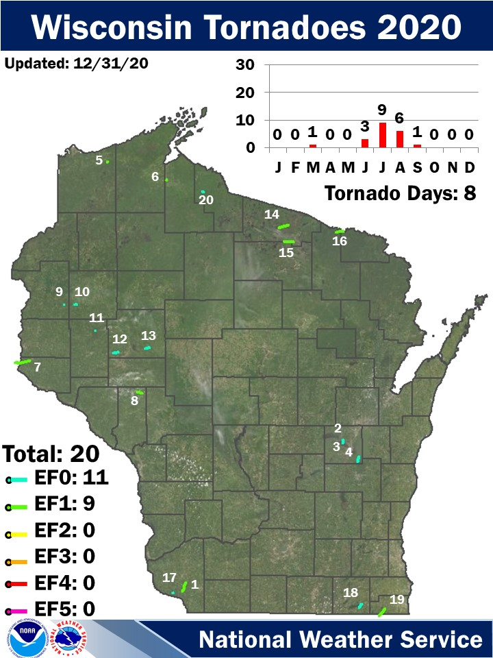Wisconsin Tornadoes 2020:  Updated 8/3/20