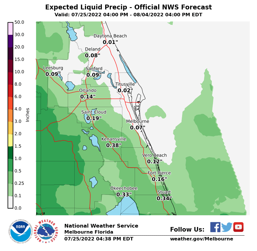 Official NWS Forecast Liquid Precipitation Totals