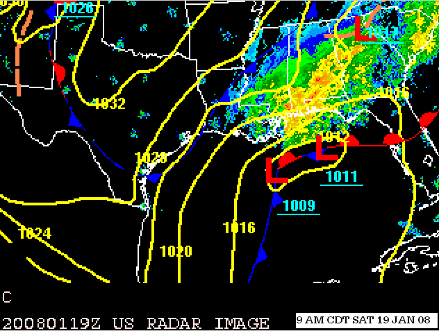 Surface Features/w Radar 9 AM CST 1/19/08