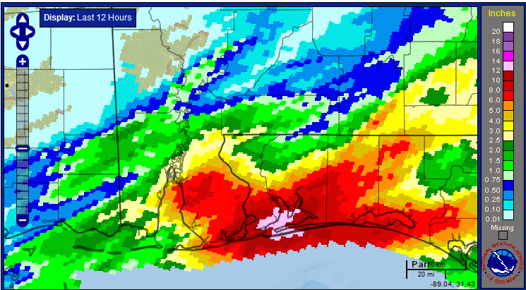 Radar estimated event rainfall (in.) totals between 9 PM CDT Tue., 28 April – 9 AM CDT Wed., 30 April. Scale on right