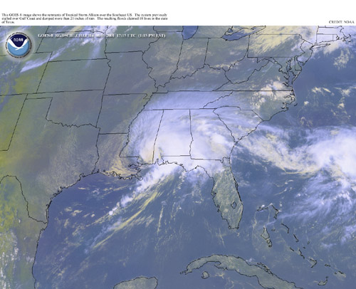 satellite image of remnants of allison over Mobile