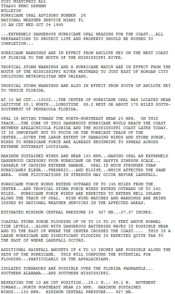 Hurricane Opal October 4 1995