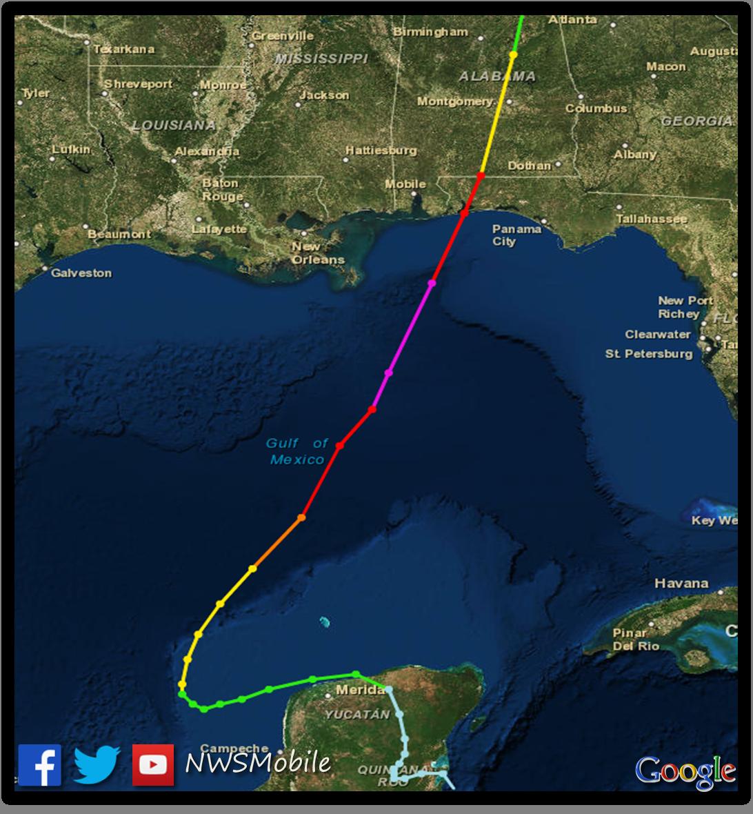 Map Florida West Coast.Hurricane Opal October 4 1995