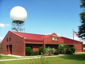 Radar tower behind the Mobile NWS Office