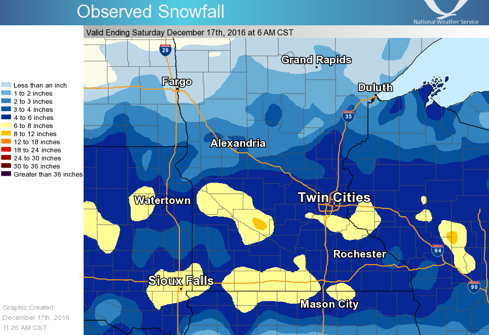 Snowfall Totals for December 16-17, 2016