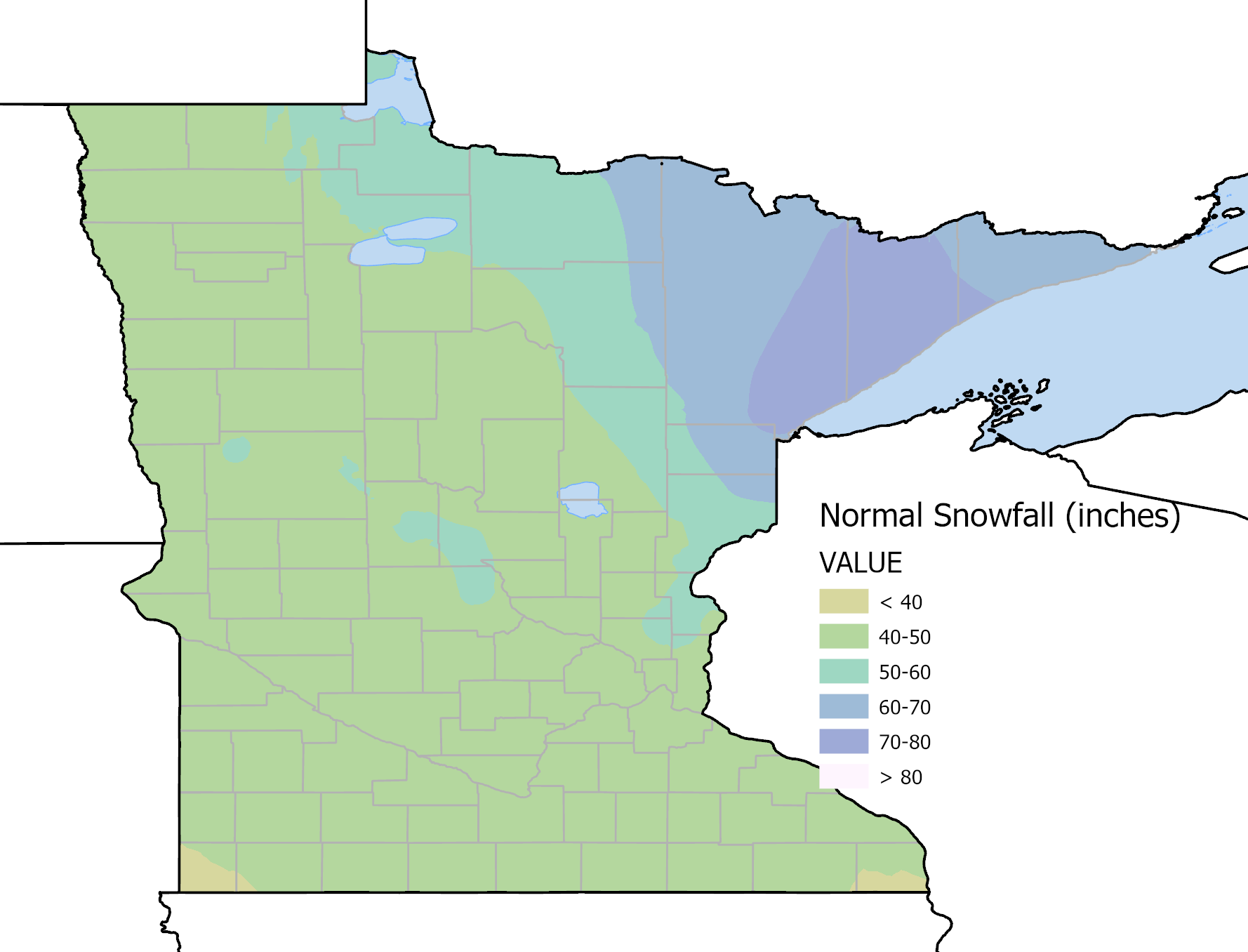 average annual snowfall across minnesota
