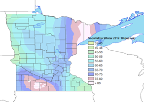 Minnesota Snowfall during the winter of 2017-2018