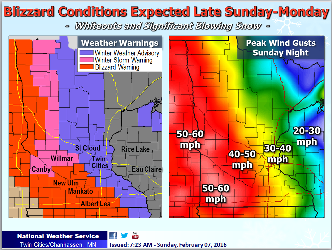 Blizzard Conditions Expected Late Sunday Afternoon into Monday