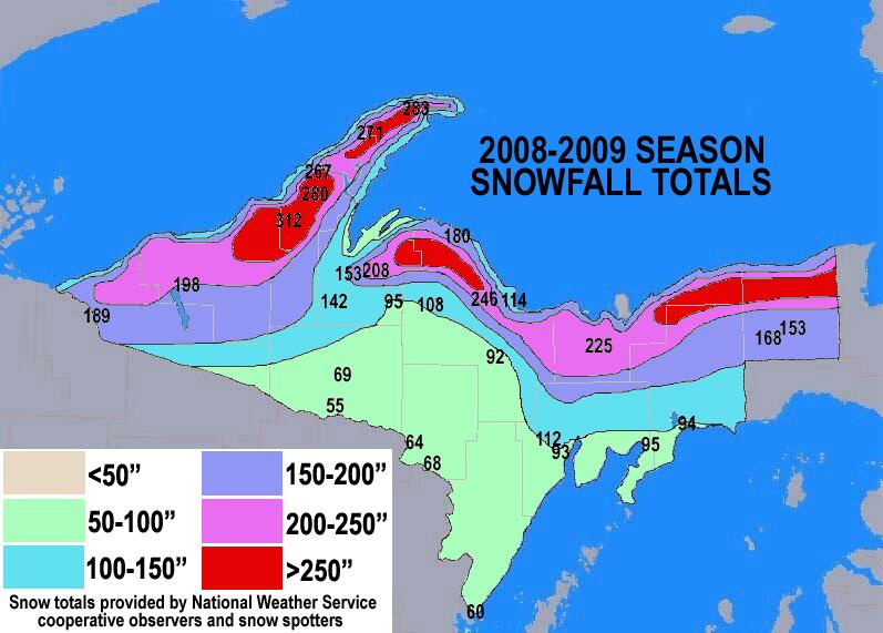 Season Snowfall Maps - Us snowfall map 2009
