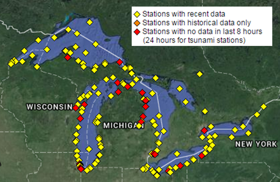 Map of current buoy and CMAN observations across the Western Great Lakes available from the National Data Buoy Center