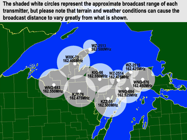 NOAA Weather Radio Locations In West and Central Upper Michigan