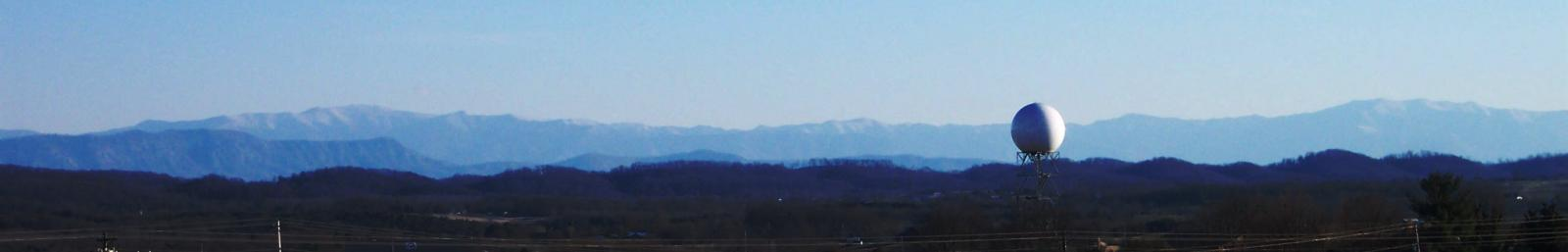 View of KMRX Doppler radar against the Smoky Mountain background