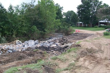 View of washed out road near Horse Creek