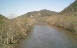 The view downstream from the bridge overpass